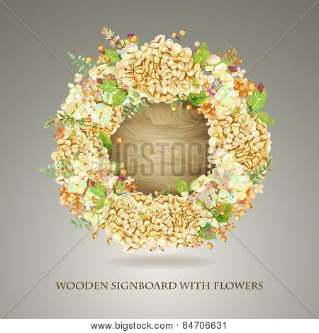 Vector Round Frame Of Yellow Watercolor Hydrangea And Berries On Wooden Background.