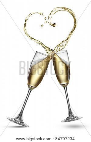 Champagne splash in shape of heart isolated on white