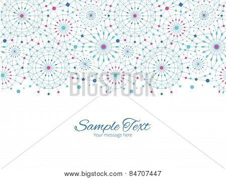 Vector blue abstract line art circles horizontal border greeting card invitation template