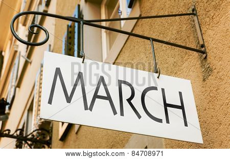 March sign in a conceptual image