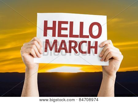 Hello March card with sunset background