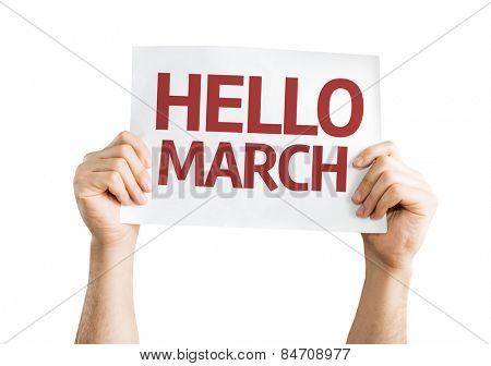Hello March card isolated on white background