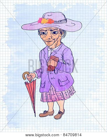 Watercolor illustration of an old woman