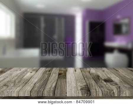 3D render of a wooden table with a defocussed bathroom in the background