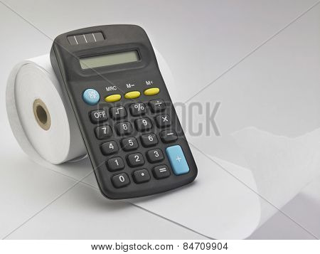 calculator on the adding tape machine