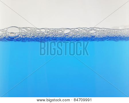 Blue foam bubbles background