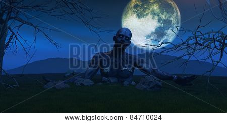 3D render of a scary zombie coming out of the ground on a moonlit night