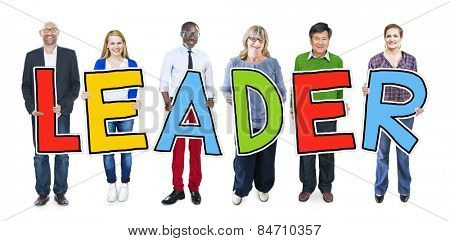Multiethnic Group of People Holding Letter Leader
