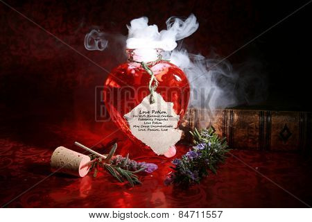 A Genuine LOVE Potion brewed up by a Gypsy, Sorceress, Fortune Teller, Witch, Match Maker, Vixen, or someone who has studied White Magic or the Dark Arts. Complete with love spell