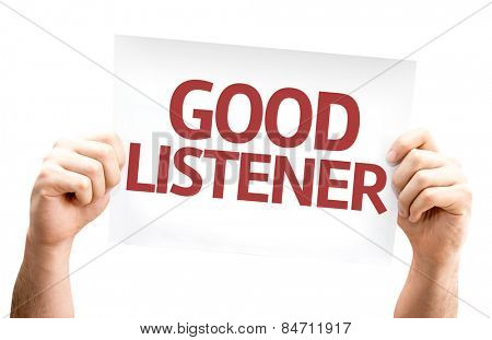 Good Listener card isolated on white background