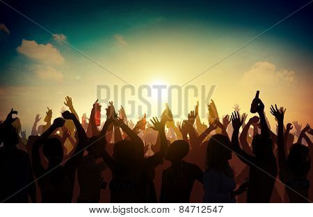 People Crowd Party Celebration Drinks Arms Raised Concept