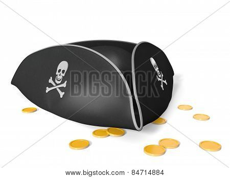 Tricorn pirate hat with skull and bones, sitting on gold treasure