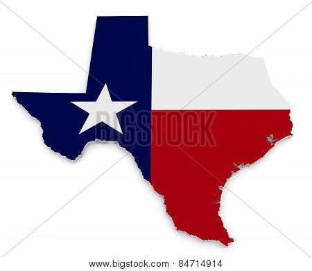 Geographic border map and flag of Texas, The Lone Star State