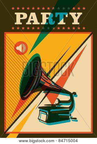 Party poster design with phonograph. Vector illustration.