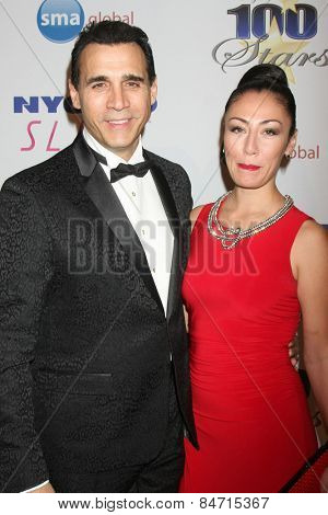 LOS ANGELES - FEB 22:  Adrian Paul, Alexandra Tonelli at the Night of 100 Stars Oscar Viewing Party at the Beverly Hilton Hotel on February 22, 2015 in Beverly Hills, CA