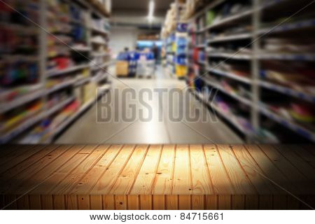 Empty table and blurred store with bokeh background