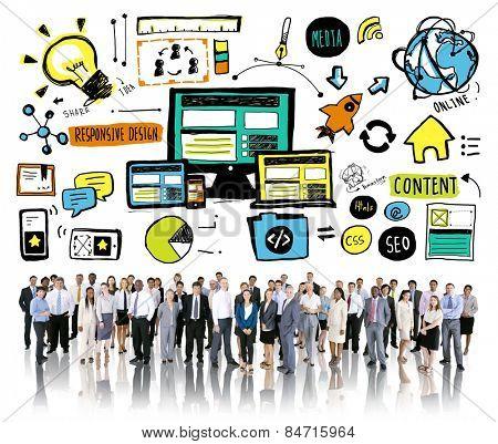 Business People Responsive Design Content Idea Team Concept