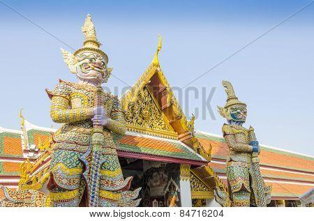 Bangkok, Thailand - Royal Palace and Wat Phra Kaeo Complex - statues