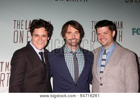 LOS ANGELES - FEB 24:  Phil Lord, Will Forte, Chris Miller at the