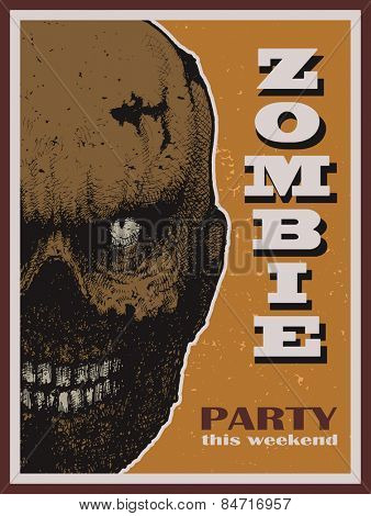 Vector Halloween zombie party banner. Vector illustration.
