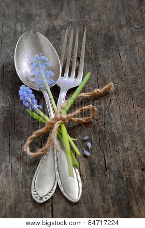 vintage fork and spoon on old wooden table