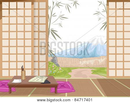 Illustration of the Interior of a Japanese Inn