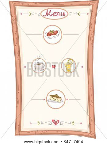Illustration of a Menu Board Highlighting the Specialties of the Restaurant