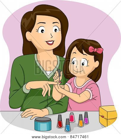 Illustration of a Mother Letting Her Daughter Apply Nail Polish on Her Nails