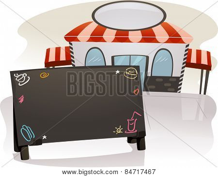 Illustration of a Blank Chalkboard Menu Standing Outside a Restaurant