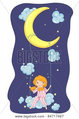 Illustration of a Girl in Pajamas Riding a Swing Hanging From the Moon