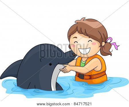 Illustration of a Little Girl Happily Playing With a Dolphin