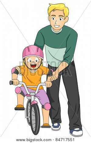 Illustration of a Father Teaching His Daughter How to Ride a Bike