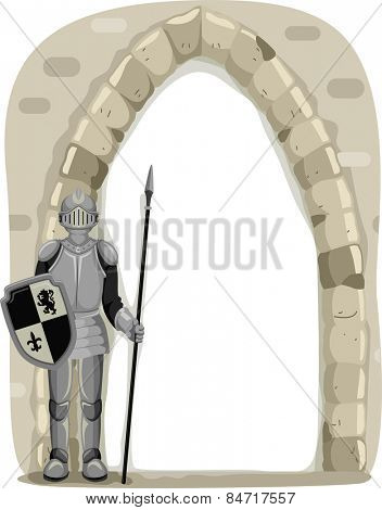 Frame Illustration of a Knight Guarding the Entrance of a Castle