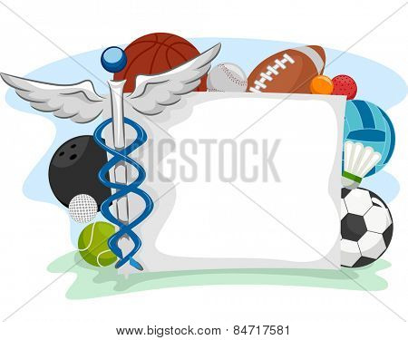 Frame Illustration of Icons Commonly Associated With Sports and Medicine