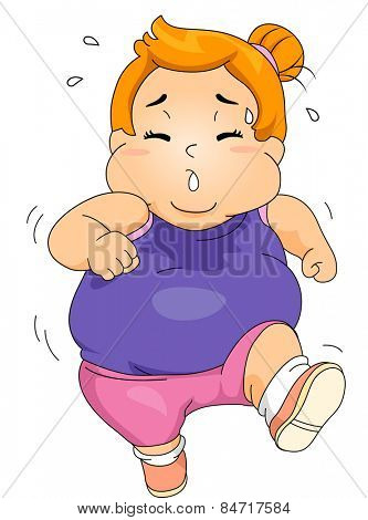 Illustration of an Obese Girl Sweating Profusely While Jogging