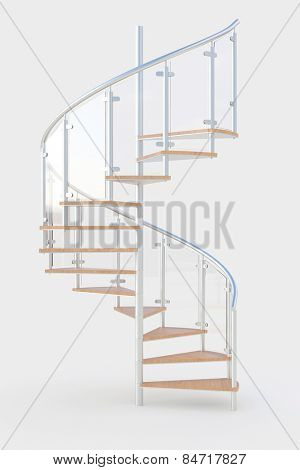 Spiral staircase with wooden steps and metal railing (3D Rendering)