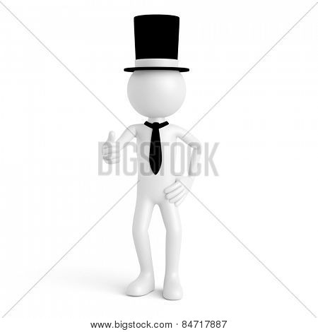 White 3D guy as capitalist millionaire with cylinder hat holding thumbs up (3D Rendering)