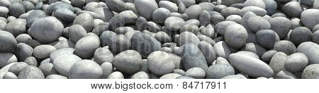 Panorama background with many round pebble stones (3D Rendering)