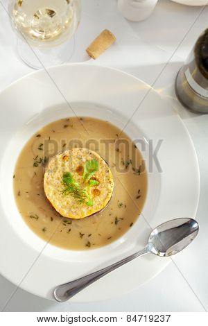 French Onion Soup with Bread and Cheese