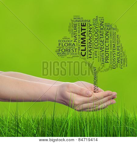 Concept conceptual black text word cloud tree man or woman hand, green blur grass background metaphor to nature, ecology, green, energy, natural, life, world, global, protect, recycle or environmental