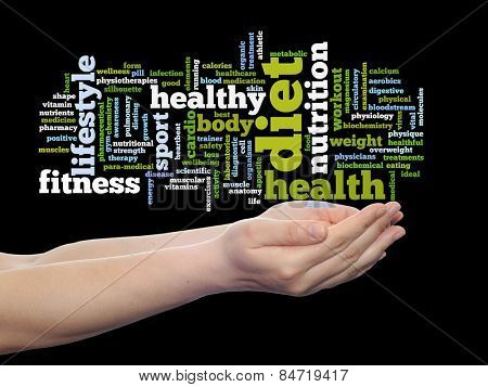 Concept or conceptual abstract word cloud man hand on black background, metaphor to health, nutrition, diet, wellness, body, energy, medical, fitness, medical, gym, medicine, sport, heart or science