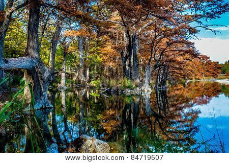 Beautiful Fall Reflections at Garner State Park, Texas
