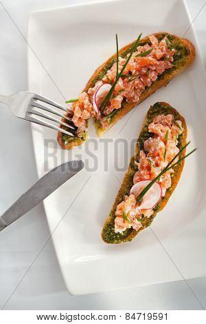 Italian Appetizer Bruschetta with Salmon