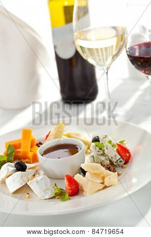 Cheese Plate with Honey Dip and Fresh Berries
