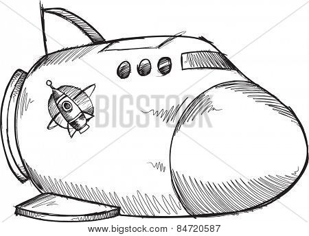 Doodle Sketch Spaceship Vector Illustration Art