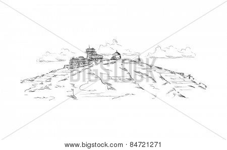 vector - Cottage with restaurant on a mountain top by name Snezka  at Czech republic at Europe