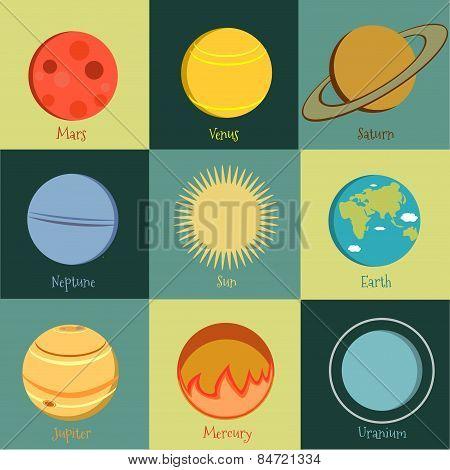 Planets icon set 2