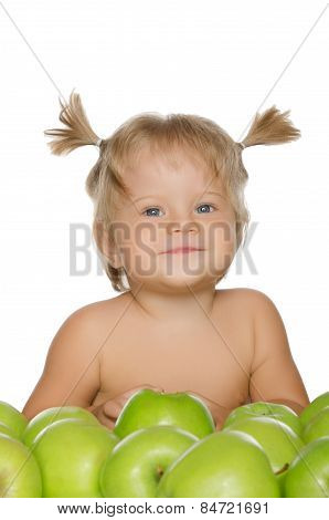 Little Happy Girl With Green Apples