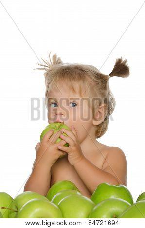 Little Girl Bitten Green Apple