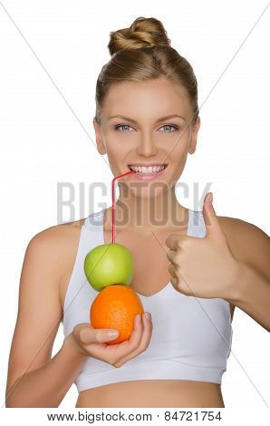 Happy Woman Drinking Juice From Fruits